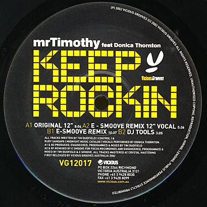 VG12017 - VICIOUS GROOVES - Mr TIMOTHY - Keep Rockin